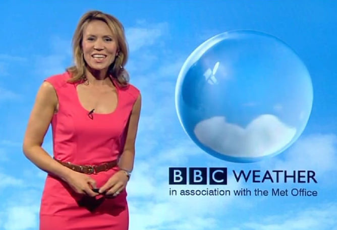 Dianne Oxberry presenting a BBC weather report