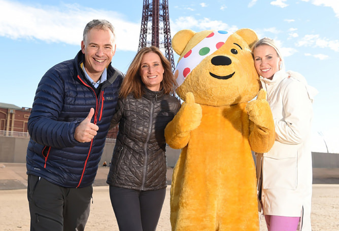 Dianne Oxberry with Pudsey Bear for Children in Need